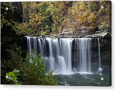 Cumberland Falls In Green Acrylic Print by Bj Hodges