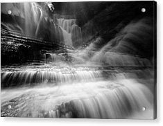 Cummins Falls In Black And White Acrylic Print