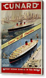 Cunard - Europe To All America - Vintage Poster Folded Acrylic Print