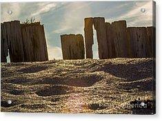 Cunnigar Beach Wooden Barrier Acrylic Print