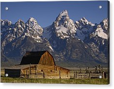 Cunningham Cabin In Front Of Grand Acrylic Print by Pete Oxford