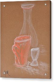 Cup And Bottle Still Acrylic Print by MaryBeth Minton