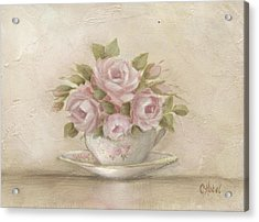 Cup And Saucer  Pink Roses Acrylic Print