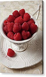 Cup Full Of Raspberries  Acrylic Print by Garry Gay
