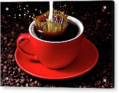 Cup Of Coffee With Splash Acrylic Print by Pics For Merch