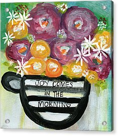 Cup Of Joy 2- Contemporary Floral Painting Acrylic Print by Linda Woods
