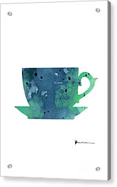 Cup Of Tea Painting Watercolor Art Print Acrylic Print by Joanna Szmerdt
