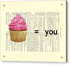 Pink Cupcake Equals You Print On Dictionary Paper Acrylic Print