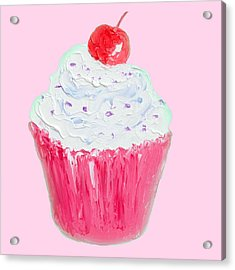 Cupcake Painting On Pink Background Acrylic Print by Jan Matson