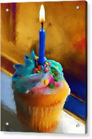 Cupcake With Candle Acrylic Print