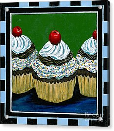 Acrylic Print featuring the painting Cupcakes With A Cherry On Top by Gail Finn