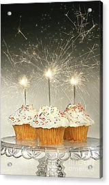 Cupcakes With Sparklers Acrylic Print by Sandra Cunningham