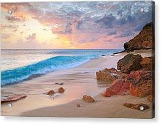 Cupecoy Beach Sunset Saint Maarten Acrylic Print by Roupen  Baker