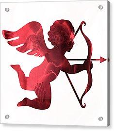Cupid Psyche Valentine Art - Eros Psyche Valentine Cupid With Arrow Print - Red Valentine Art  Acrylic Print