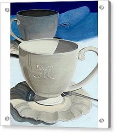 Cups Of Coffee In A Quiet Acrylic Print