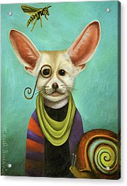 Acrylic Print featuring the painting Curious As A Fox by Leah Saulnier The Painting Maniac