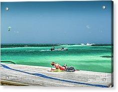 Curious Bikini Clad  Sunbather Acrylic Print