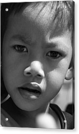 Curious Cambodian Child Acrylic Print by Linda Russell