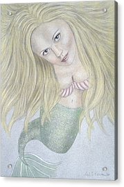 Curious Mermaid - Graphite And Colored Pastel Chalk Acrylic Print by Nicole I Hamilton