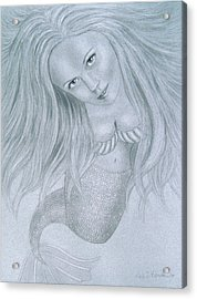Curious Mermaid - Graphite And White Pastel Chalk Acrylic Print by Nicole I Hamilton