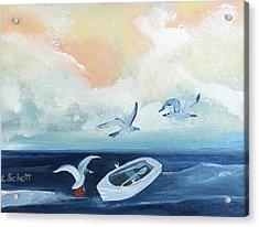 Curious Seagulls Acrylic Print
