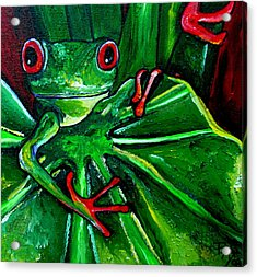 Curious Tree Frog Acrylic Print by Patti Schermerhorn