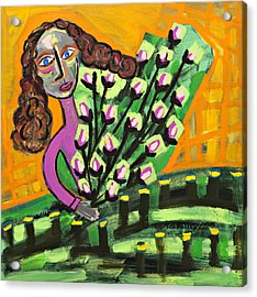 Curly Hair Lady With Pink Flowers Acrylic Print by Maggis Art
