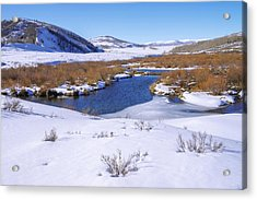 Currant Creek On Ice Acrylic Print by Chad Dutson