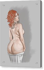 Acrylic Print featuring the mixed media Curves Of Helga by TortureLord Art