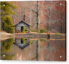 Custom Crop - Cabin By The Lake Acrylic Print by Shelby  Young
