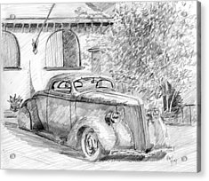 Acrylic Print featuring the drawing Custom Ford Graphite by David King