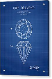 Cut Diamond Patent From 1873 - Blueprint Acrylic Print by Aged Pixel