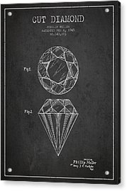 Cut Diamond Patent From 1873 - Charcoal Acrylic Print by Aged Pixel