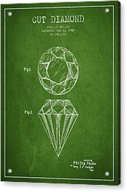 Cut Diamond Patent From 1873 - Green Acrylic Print by Aged Pixel