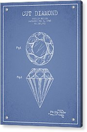 Cut Diamond Patent From 1873 - Light Blue Acrylic Print by Aged Pixel
