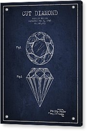 Cut Diamond Patent From 1873 - Navy Blue Acrylic Print by Aged Pixel