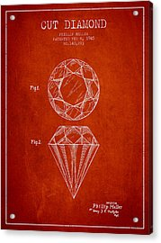 Cut Diamond Patent From 1873 - Red Acrylic Print by Aged Pixel