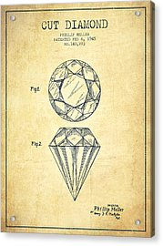 Cut Diamond Patent From 1873 - Vintage Acrylic Print by Aged Pixel