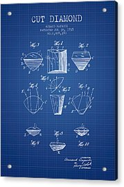 Cut Diamond Patent From 1935 - Blueprint Acrylic Print by Aged Pixel