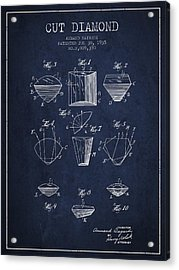 Cut Diamond Patent From 1935 - Navy Blue Acrylic Print by Aged Pixel