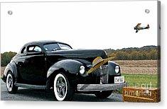 Cut Down 1940 Ford Coupe, Boeing Stearman Open Cockpit Biplane, Louis Vuitton Steamer, Vintage Hat Acrylic Print