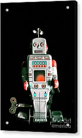 Cute 1970s Robot On Black Background Acrylic Print