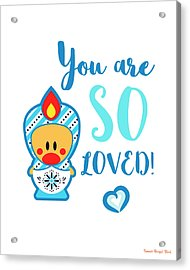 Cute Art - Blue And White Folk Art Sweet Angel Bird In A Matryoshka Costume You Are So Loved Wall Art Print Acrylic Print