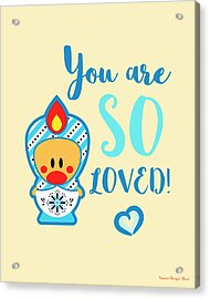 Cute Art - Blue, Beige And White Snowflake Folk Art Sweet Angel Bird Matryoshka You Are So Loved Wall Art Print Acrylic Print