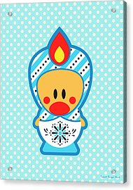 Cute Art - Blue Polka Dot Folk Art Sweet Angel Bird In A Matryoshka Costume Wall Art Print Acrylic Print
