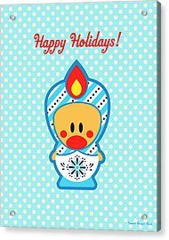 Cute Art - Blue Polka Dot Happy Holidays Folk Art Sweet Angel Bird In A Nesting Doll Costume Wall Art Print Acrylic Print