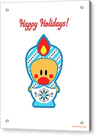 Cute Art - Happy Holidays Folk Art Sweet Angel Bird In A Nesting Doll Costume Wall Art Print Acrylic Print