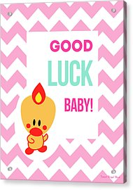 Cute Art - Sweet Angel Bird Cotton Candy Pink Good Luck Baby Chevron Wall Art Print Acrylic Print
