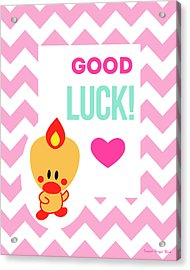 Cute Art - Sweet Angel Bird Cotton Candy Pink Good Luck Chevron Wall Art Print Acrylic Print