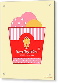 Cute Art - Sweet Angel Bird Ice Cream Party Wall Art Print, Home Decor, Unique Gift Acrylic Print